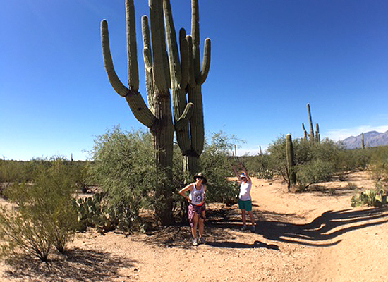 My what big cacti Mom and Talia found.  Or since they are twin, is it a cactus? – <i>Seguaro</i>