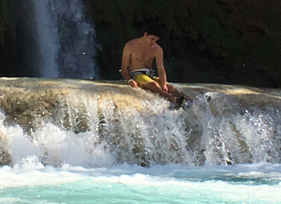 Matt contemplating life after our 10 mile hike through Supai Village to Havasu Falls